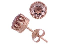 Pink is a very studly color! - Pink Quartz 18k Rose Gold Over Sterling Silver Stud Crown Earrings