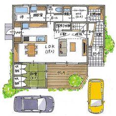 清家修吾さん(@seike_shugo) • Instagram写真と動画 House Layout Plans, House Layouts, House Plans, Asian Design, Room Planning, Japanese House, Entrance, Living Spaces, Floor Plans