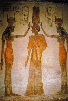 The deification of Nefertari Isis and Hathor, room of the temple of Hathor, Abu Simbel - Egypt