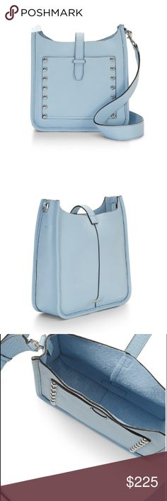 """HP Rebecca Minkoff Sky Blue Feed Leather Bag ✨BRAND NEW WITH TAGS ✨Leather So Soft It Practically Melts In Your Hands! Meet The Perfect Day Bag, Sized Down For Light Packers. An Open Top Snaps Shut For Safety, But Lets You Get To Your Stuff Quick, And An Adjustable Strap Keep It All Right At Your Hip!  l Color: Sky Blue. 9.25"""" W x 10"""" H x 3.25"""" D. Genuine Leather. 22"""" Adjustable Removable Leather Strap. Rebecca Minkoff Bags Crossbody Bags"""
