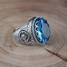 Women's Wedding Band - Art Deco Style Custom Engagement Ring Cast in Gold - Staghead Designs - Fine Jewelry Ideas Mens Gemstone Rings, Sterling Silver Mens Rings, Silver Rings Handmade, Topaz Gemstone, 925 Silver, Men's Jewelry Rings, Boho Rings, Beach Jewelry, Blue Topaz Ring