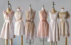 mismatched bridesmaid dresses / Dress / Bridesmaid / Romantic /  tan /lace /blush  / Fairy / Dreamy / Bridesmaid / Party / wedding / Bridesmaids different