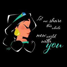 34 ideas quotes disney love princesses jasmine for 2019 Disney Pop, Disney Fan Art, Disney Magic, Disney Jasmine, Princess Jasmine, Aurora Disney, Disney And Dreamworks, Disney Pixar, Disney Nerd