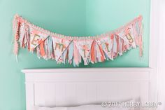 Every girl's room should feel like a celebration! This banner comes together in two layers: Fabric pennants, lined with fusible-fleece batting and sewed to ribbon. Fabric strips tied onto rope. Owl Bedrooms, Craft Presents, Little Blessings, Girl Room, Baby Room, Fabric Strips, Bedroom Vintage, Hobby Lobby, Fabric Crafts