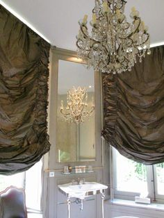 just visualise how beautiful this room looks at night, drapes down, candles and chandelier glowing.and that mirror would reflect the effect even more! Window Treatments, Home, Custom Drapery, House Design, Curtains, Beautiful Bathrooms, Home Curtains, Window Coverings, Window Styles