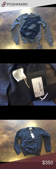 """Exemplaire charcoal/black 3-4 ply cashmere crew S Lucky you these are rare and very cool special. No 2 alike these are handcrafted in France. Unisex in my book.... length 24"""" bust 36"""". No trades price is firm offers not accepted exemplaire Sweaters Crewneck"""
