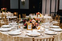 Wedding reception at the Union League. Centerpieces grown and designed by Love 'n Fresh Flowers. Photo by Emily Wren Photography.