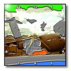 An Air Force Plane Done in Brown and Chrome Embossed and Layered a Colorful Neon Green Sky Wall Clock