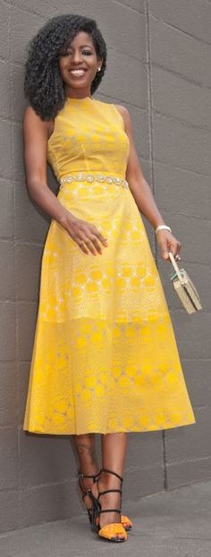 In love with this gorgeous marigold dress. Hello, spring! #liveincolor
