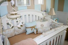 Real Nursery: Recreating a Boy's Dreamy Room on a Budget Baby Boy Rooms, Baby Bedroom, Baby Boy Nurseries, Kids Rooms, Nursery Boy, Striped Nursery, Nursery Stripes, Diy Crib, Baby Crib Bedding