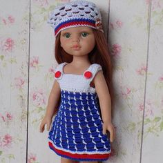 A set of handmade clothes for dolls in a marine style: a dress, a cap, shoes. Outfit for dolls Paola Reina and other dolls measuring 12-13 inches (32-34 cm). Clothing is crocheted from 100% mercerized cotton. Dress with straps, fastens on two buttons made of plastic. The cap has