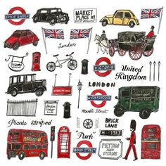 London bus and cab illustration by Vita Yang England Uk, London England, London Illustration, London Art, London Style, London Icons, Bond Street, London Calling, British Isles