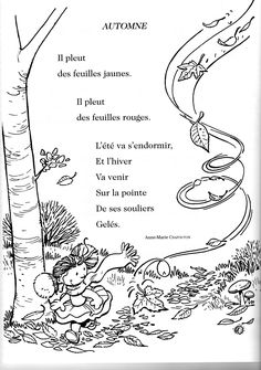 poésie automne French Teacher, Teaching French, Poems About School, French Poems, French Kids, Fun Fall Activities, Core French, French Classroom, French Resources