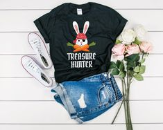 Treasure Hunter Easter Bunny Pirate Shirt - Easter Egg Hunt Shirt - Kids Easter T-Shirt For Boy Girl - Kids Easter Gift - Easter Party Shirt Easter Shirts For Boys, Easter Gifts For Kids, Women's Shirts, Kids Shirts, Pirate Shirts, Easter Party, Egg Hunt, Hoodies, Sweatshirts