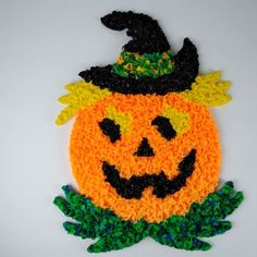 Melted Plastic Popcorn Pumpkin Jack O'Lantern Witch Hat  Halloween Decor