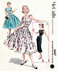 McCall's 3667 Pinch Waisted Dress with Two Skirts 1956