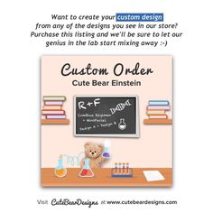 Cute Bear Einstein - This listing is allows you to build your own design from the designs you see in our store :-)