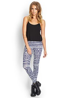 Geo Tribal Print Leggings | FOREVER21 - 2000069378
