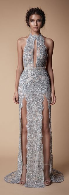 Stunning double thigh split halter-neck evening gown by Roberta Cruz - Prom Dresses Design Elegant Dresses, Pretty Dresses, Formal Dresses, Silver Prom Dresses, Long Sparkly Dresses, Silver Sparkly Dress, Pink Sparkly, Blush Pink, Wedding Dresses
