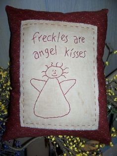 Prim Stitchery Freckles are Angel Kisses Pillow by scrapsofthepast, $9.00