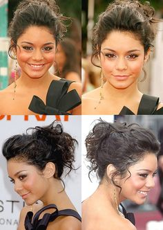 love Vanessa Hudgens messy bun / updo. bridesmaid  hair