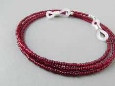 Red Eyeglass Chain. Ruby Red Holder for Glasses. Eyeglass Holders Necklaces. Reading Glasses Chain. Eyeglass Lanyard. Eye Glasses Chain.True...