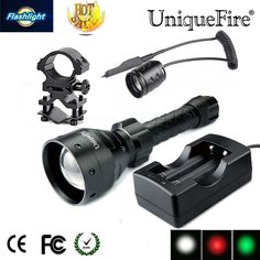 59.78$  Buy now - http://alik09.worldwells.pw/go.php?t=32715005014 - UniqueFire UF-1405 CREE Q5 Rechargeable LED Flashlight  Black Color Lamp Torch +Gun Mount+Rat Tail+Two Slot Charger