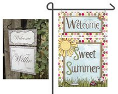 Summer Garden / Yard Metal Flag / Sign - Outdoor -  / Welcome Sign / Garden Flag / Summer Decor / Garden Decor