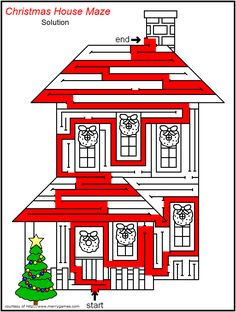 Christmas Tree Maze 1 of six free printables Great for the long