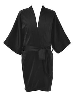 Remedios Kids Kimono Robe Sleepwear Bathrobe Wedding Party Girls Dressing Gown, Black, M