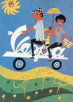 Vintage Italian Posters ~ #illustrator  #Italian #posters ~ 1950s Vespa advertisement