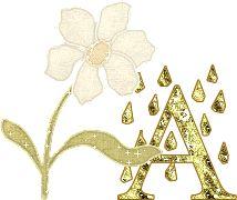 Alfabeto tintineante dorado con flor y gotas de agua.