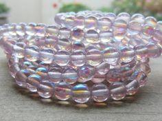 Czech Glass Bead Druk 6mm Lilac AB 1 Strand by gypsybeadpeddler