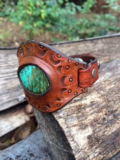 Handmade Turquoise and Leather Cuff