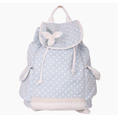 ecb2cdab10540 Light Blue Dots Handmade Flower Backpacks ❤ liked on Polyvore