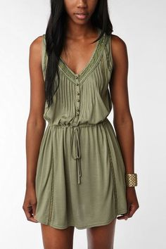 Light & airy green dress.