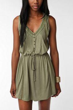 Light & airy green dress.