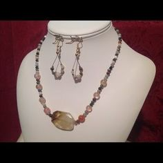 """I just added this to my closet on Poshmark: SALENecklace Multi Agate # 5049. Price: $30 Size: Necklace 18 1/2"""" Earrings 2"""" Estimated"""
