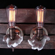 Upcycled Vintage Mannequin Hand Lighting---clever!  find new and used mannequin hands at www.MannequinMadness.com