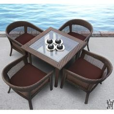 Tosh Furniture Modern 5 Piece Brown Wicker Dining Set at Avarietyofgifts.com