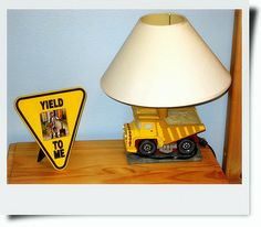 Construction theme toddler bedroom – could make this out of a large toy truck! So fun!