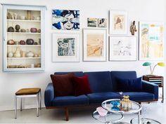 my scandinavian home: A Danish Home Full of Vintage Treasures #sittingroom #livingroom #bluevelvetsofa
