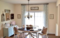 Breakfast nook dining room floor to ceiling curtains. See my blog for how I did my no-sew curtains and all my farm house decor