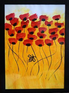 ABEJA CON AMAPOLAS | pintura en acrilico sobre papel | 50x70 | RRiRR Ricardo Gil Turrion | colección privada