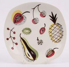 RARE Midwinter Mid Century Modern Stylecraft Jessie Tait Fruit Pattern Plate