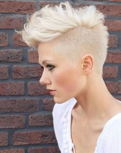 Short hair, faux hawk, short woman's cut, mohawk, super short women's hair, buzzed, blonde