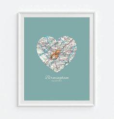 Birmingham Alabama Vintage Heart Map - Custom Colors - Couples - Wedding - Engagement -Anniversary -Christmas- Family gift UNFRAMED ART PRINT