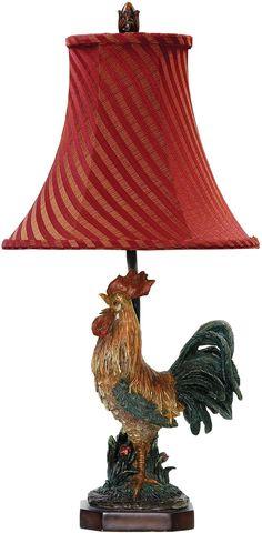 "The Crowning Rooster 1-Light Table Lamp Features: - Barnyard Finish - 24.25"" Height x 11.5"" Width x 11.5"" Depth - Shade Dimension: 12"" Top x 12"" Bottom x 10"" Slant Height - 1 x 60 Watt Medium Base Bul"