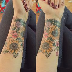 My new forearm coverup tattoo. Sunflower floral illustrated tattoo. Beautiful boho / hippy