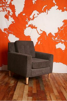 New wall tapestry map urban outfitters Ideas Orange Wallpaper, Modern Wallpaper, World Map Wallpaper, Wall Maps, Wall Mural, Diy Wall Decor, Home Decor, New Wall, Architecture
